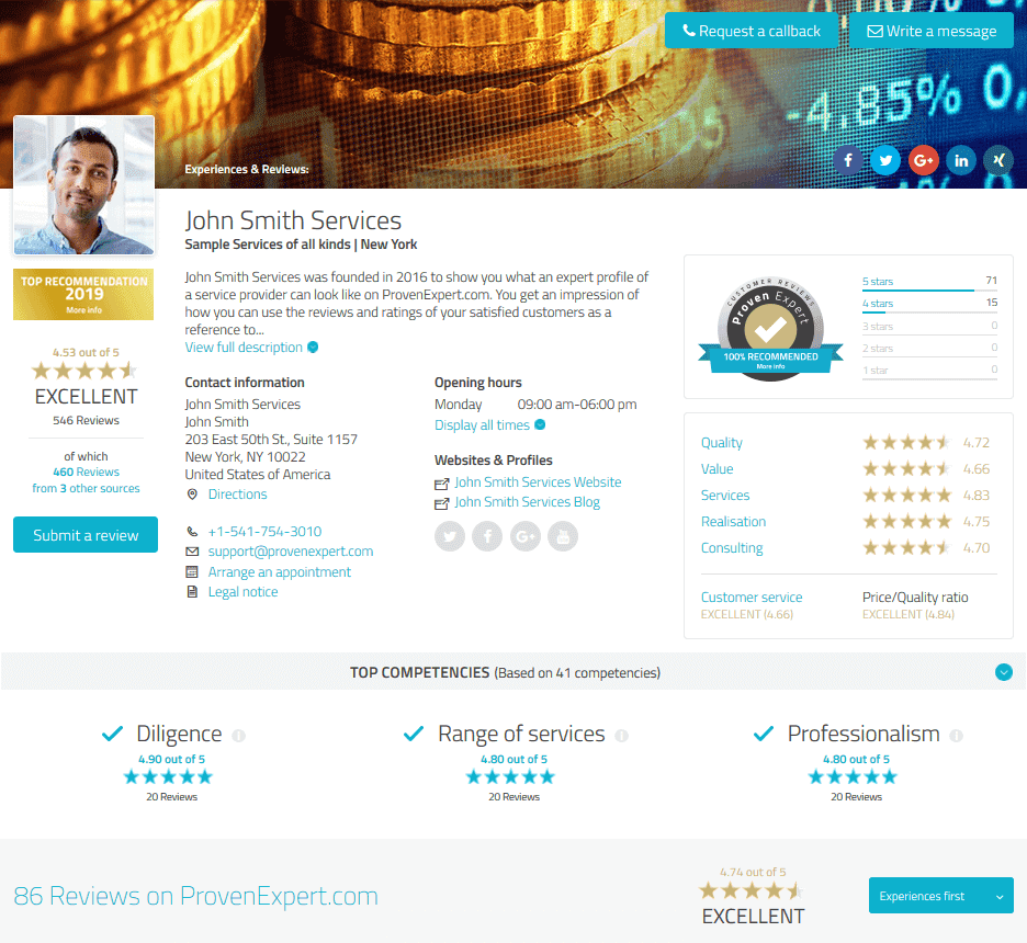 Image result for provenexpert profile
