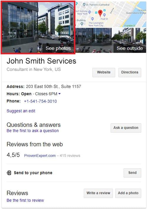 Google my business box