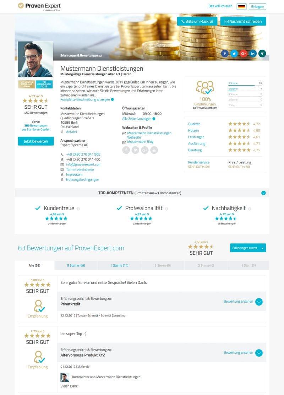 Provenexpert Profil für mehr Umsatz