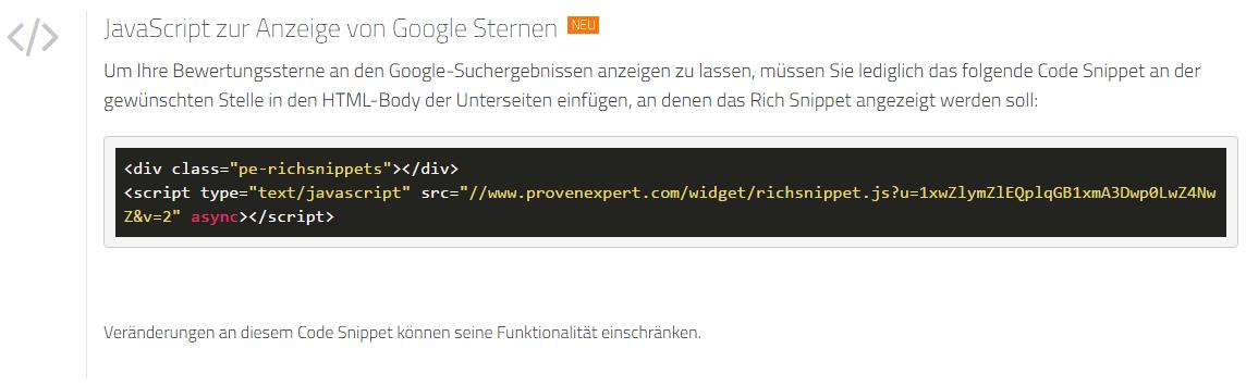 HTML code für JavaScript