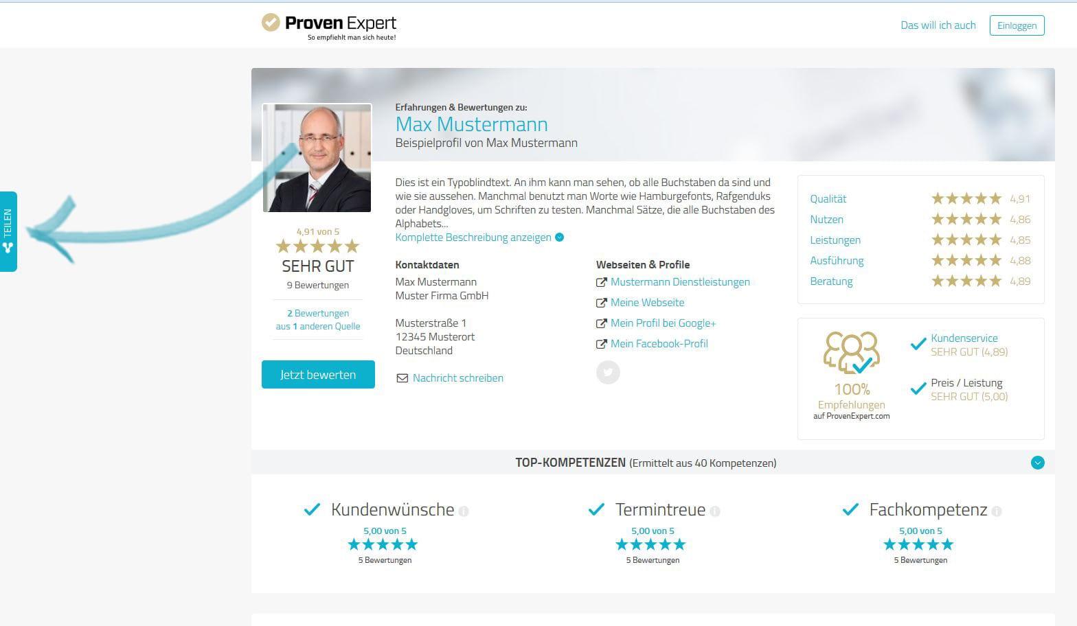 Bewertungsprofil und Kundenfeedback teilen