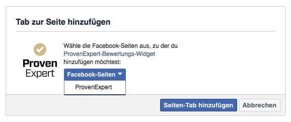 Select the Facebook pages where the Facebook rating widget should be embedded. We have selected our ProvenExpert page.