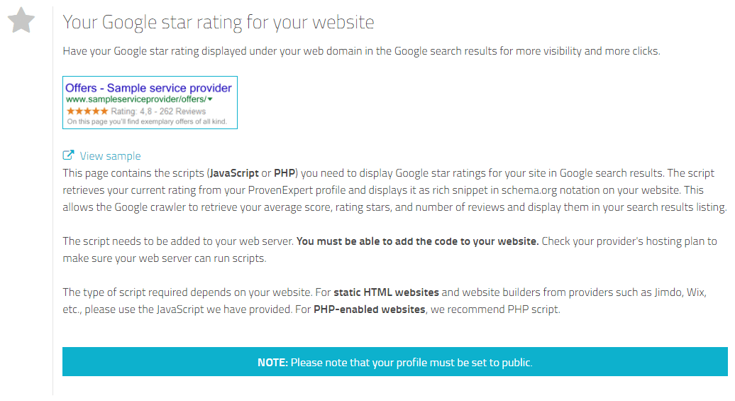 Google seller ratings for your website