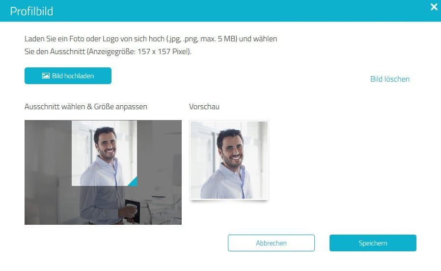 Ausschnitt-Funktion für optimales Nutzerbild