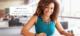 Webseite Screenshot Frau mit Kachel