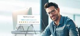 Webseite Screenshot Mann mit Kachel