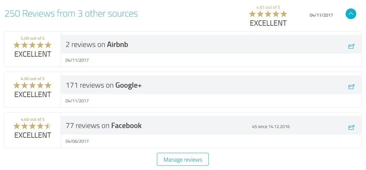 Display aggregated reviews on your public profile.