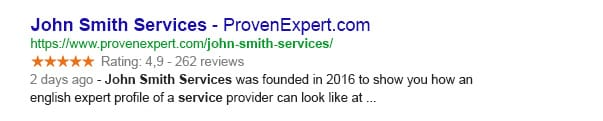 ProvenExpert Google search results