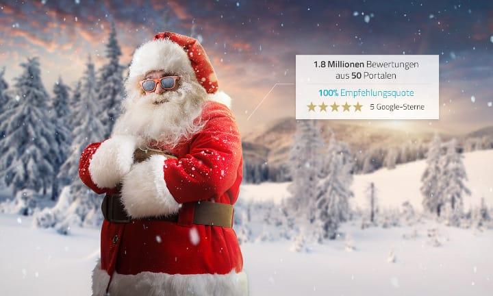 Würden Sie den Weihnachtsmann weiterempfehlen? Santa Claus sammelt Online-Kundenmeinungen ein